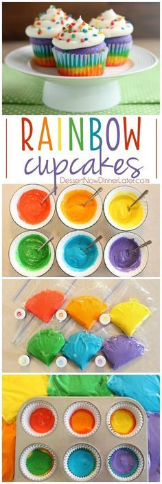 400 for 14mins in my oven. These Rainbow Cupcakes are made with a simple boxed white cake mix, colored, and layered to make a rainbow, with whipped cream cheese frosting on top! (Photo tutorial, plus tips on baking cupcakes to perfection!)