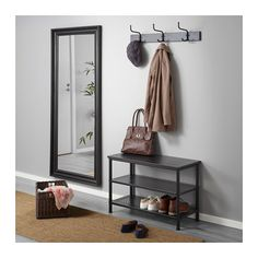 IKEA - PINNIG, Rack with 3 hooks, black, Different wall materials require different types of fasteners. Use fasteners suitable for the walls in your home. Ikea Small Apartment, Small Apartments, Apartment Entryway, Small Apartment Decorating, Shoe Rack Closet, Shoe Racks, Small Entryways, Small Hallways, Small Room Design