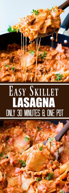 Easy Skillet Lasagna Recipe (30 Minutes & One Pot!)