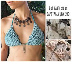 PDF-file for Crochet PATTERN, Ariella Mermaid Crochet Bikini Top Sizes XS-L by CapitanaUncino on Etsy