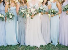 Bridesmaids in pretty shades of pale blue + purple