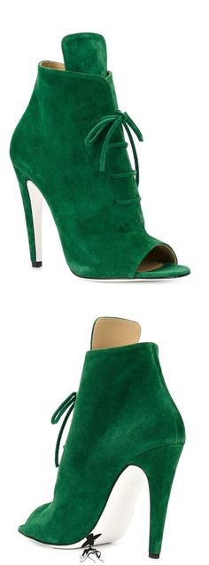 Emerald Green Peep-Toe Shootie
