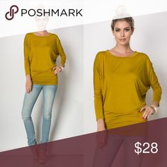 MUSTARD DOLEMAN TOP Mustard is a must have in your wardrobe this fall. Soft. Drapes well. True to size. Tops Tees - Long Sleeve