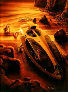 Shusei Nagaoka, retro-futuristic, art, futuristic vehicle