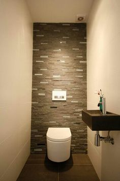 This type of photo can be an inspiring and marvelous idea Small Toilet Room, Guest Toilet, Downstairs Toilet, Small Bathroom, Modern Bathroom Design, Bathroom Interior, Interior Design Living Room, Wc Design, Toilet Design
