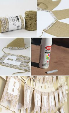DIY burlap banner for party or wedding (spray paint staples) #wedding #burlapbanner