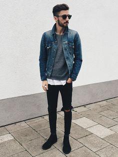 デニムジャケット,グレーニット,ダメージブラックジーンズ,チャッカブーツ,着こなしメンズファッション