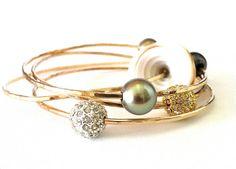 Tahitian pearl bangle bracelets.