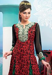 Dreamy variation on shape and forms compliment your style with tradition. This black and red cotton churidar suit have amazing flower print and embroidery patch work is done with resham work. Embroidery on kameez is highlighting the beauty of this suit. Matching black churidar and printed chiffon dupatta come along with this suit. Slight Color variations are possible due to differing screen and photograph resolutions.