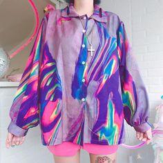New illusion gradient retro hip hop blouses from Harajuku Fashion Style Harajuku Fashion, 80s Fashion, Fashion Outfits, Womens Fashion, Funky Fashion, Vintage Fashion, Looks Style, My Style, Retro Style