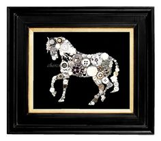 ATTENTION: This art is also available in print form under the section: Button Art Prints!  An eye catching Black and White Horse on a solid black painted 8x10 canvas with lots of bling and special elements to make him truly unique. Of course, as usual, I dont spare the Swarovski rhinestones or any of the other sparkly elements. Hes a horse to melt your heart!  If you're intrigued by my home photos (did my best), wait until you see the product in person, it will dazzle you! I've been an…