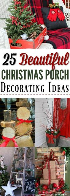 Get your home ready for Christmas with these 25 Christmas Porch Decorating Ideas. Beautiful Christmas porch ideas that are simple and budget friendly! Outside Christmas Decorations, Christmas Yard, Primitive Christmas, Rustic Christmas, Christmas Projects, Holiday Decorations, Porch Ideas For Christmas, Christmas Entryway, Christmas Manger