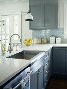 Grey, teal & yellow kitchen