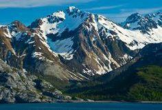 Snow capped peaks in Glacier Bay.
