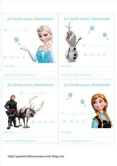 Invitations d'anniversaire: La Reine des Neiges Happy Birthday Kids, Frozen Birthday, Frozen Party, Princess Birthday, Baby Birthday, Olaf, Diy Party, Disney Pixar, Paper Dolls