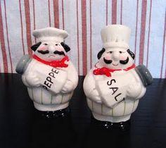 chefs, happy Salt & grumpy Pepper, shakers