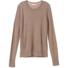 Victoria's Secret Cashmere Crewneck Sweater (2.475.565 IDR) ❤ liked on Polyvore featuring tops, sweaters, stripepink, brown sweater, victoria's secret, crew neck tops, brown crew neck sweater and crewneck sweater