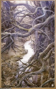 Alan Lee - Lord of the Rings (Merry and Pippin in Fangorn Forest) Alan Lee, Fantasy World, Fantasy Art, Elfa, O Hobbit, J. R. R. Tolkien, Into The West, The Two Towers, Legolas
