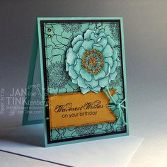 Greeting Card  Warmest Wishes Birthday Zinnia Floral by JanTink