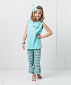 Look what I found on #zulily! Robin's Egg Blue Stripe Capri Pants Set - Infant, Toddler & Girls #zulilyfinds