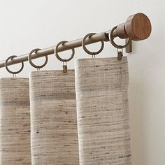 Copenhagen Brass with Wood Finials Curtain Hardware | Crate and Barrel