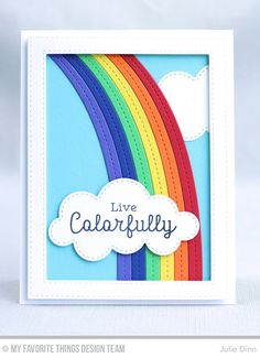 Rainbow Greetings, End of the Rainbow Die-namics, Stitched Rectangle Frames Die-namics - Julie Dinn #mftstamps