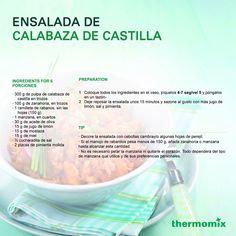 Sigue la receta de la Ensalada de Calabaza de Castilla, un platillo delicioso. Vase, Pumpkin Salad, Juices, Salads
