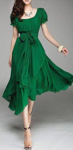 emerals chiffon dress