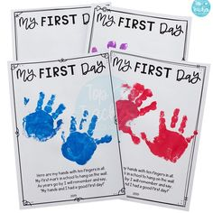 My First Day Handprint Poem – back to school Pre K – My First Day Handprint Poem – back to school Preschool First Week, Preschool Poems, First Day Of School Activities, First Day School, Kindergarten First Day, Preschool Activities, Preschool Projects, First Day Poem, Home School Preschool