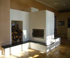 Grundofen mit Holzfach und Sitzbank