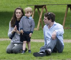 The Duchess of Cambridge watches the action while an amused Prince George pulls a funny face alongside their friend James Meade