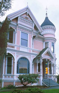 1860-1880: Eastlake Victorian ~ This colorful Victorian home is a 'Queen Anne,' but the lacy, ornamental details are called 'Eastlake' |  California
