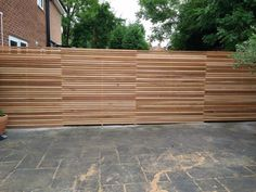 Western Red Cedar Slatted screen fencing offer these as individual battens or as pre built panels that simply screw into place. See website for info and pricing. Slatted Fence Panels, Fence Slats, Garden Fence Panels, Garden Fencing, Modern Wood Fence, Cedar Wood Fence, Modern Fence Panels, Outdoor Wall Panels, Decorative Fence Panels