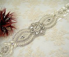 ShinyBeauty Beaded Patch for Diy Wedding Sash, Bridal Accessories,wedding Sash * Learn more by visiting the image link.