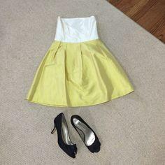COREN MOORE (New York Wedding Designer) Dress! Beautiful Mustard and White Dress! Designer Coren Moore. Silk. Only worn once! Very comfortable. Beautiful!! Dresses Midi