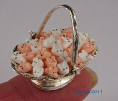 pink & white mice basket  by linsminis,