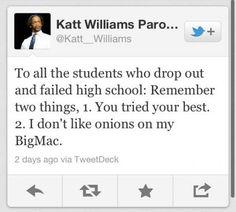Katt WIlliams on high school dropouts
