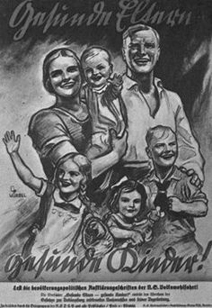 "Nazi ideology was diffused through a vast array of propaganda in the form of posters, film, literature and even postage stamps glorifying German women in the role of motherhood for the Reich. Women were encouraged to have as many children as possible otherwise, Hitler warned, the German race would be overrun by so-called inferior races. They even received ""mothers crosses"", medals that looked similar to military decorations, in gold, silver, or bronze. The bronze medal for those with 8 or…"