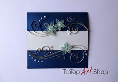 Quilled Paper Handmade Greeting Card with Flowers by TipTopArtShop