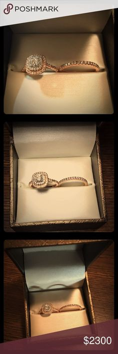 1 CT. T.W.  Double Halo Bridal Set Rose Gold 14K RARE!!! Round Center Stone T.W.: 1/3 CT, 14K Gold, diamond clarity: I2, Stone Setting: 4-prong, ENGAGEMENT RING size: 5.5, wedding band size: 7. Proposed to ex girl friend, things went south. Zales Jewelry Rings