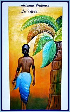 Cuadro tropical con colores calidos , pintado con oleos y tallado a mano.