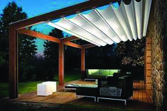 Image of Pergola Retractable Shade Retractable Pergola Canopy In Oakville Shadefx Canopies Using pergola ideas that offer buffered solar will give them the safety they need. Also, the pergola will hold that side of the house to which it is … Outdoor Decor, Pergola With Roof, Deck With Pergola, Diy Patio, Retractable Shade