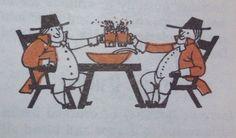 2 men drinking beer vintage cookbook illustration Best Honey, Vintage Cookbooks, Drinking, Thanksgiving, Beer, Embroidery, Illustration, Art, Root Beer