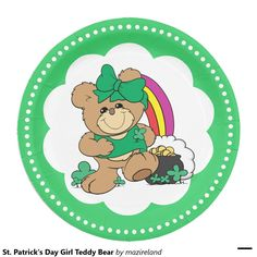 St. Patrick's Day Girl Teddy Bear 9 Inch Paper Plate