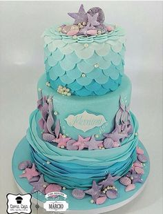 Mermaid Party at the Bottom of the Sea – Elika Party Festivals Festa da sereia no fundo do mar – festivais de festas de Elika Mermaid Birthday Cakes, Little Mermaid Birthday, Little Mermaid Parties, Mermaid Cakes, Sirenita Cake, Ocean Cakes, Beach Cakes, Ariel Cake, Mermaid Baby Showers