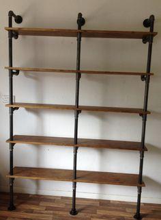 Vintage Industrial Gas Pipe Pole Retro Shelves Bookcase Old Wood Oak finish