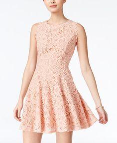 City Studios Juniors' Lace Fit & Flare Dress | macys.com