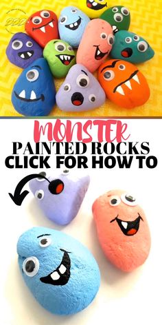 The Monster Treasure Hunt Painted Rocks are cute painted rocks. There are many painted rocks facebook groups where you can find many painted rocks ideas. #dinedreamdiscover #paintedrocks #paintedrockspebbleart #monstercraft #rockpaintingideas Turtle Painted Rocks, Painted Garden Rocks, Painted Rock Animals, Painted Rocks Kids, Painted Pebbles, Painted River Rocks, Rock Painting Ideas Easy, Rock Painting Designs, Painting For Kids