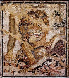 Lion mosaic. Pompeii. Italy.