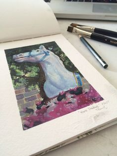 Watercolor painting of a fun horse decoration in Disneyland. Disneyland, Watercolor Paintings, Horses, Decoration, Gallery, Artwork, Fun, Watercolour Paintings, Decorating